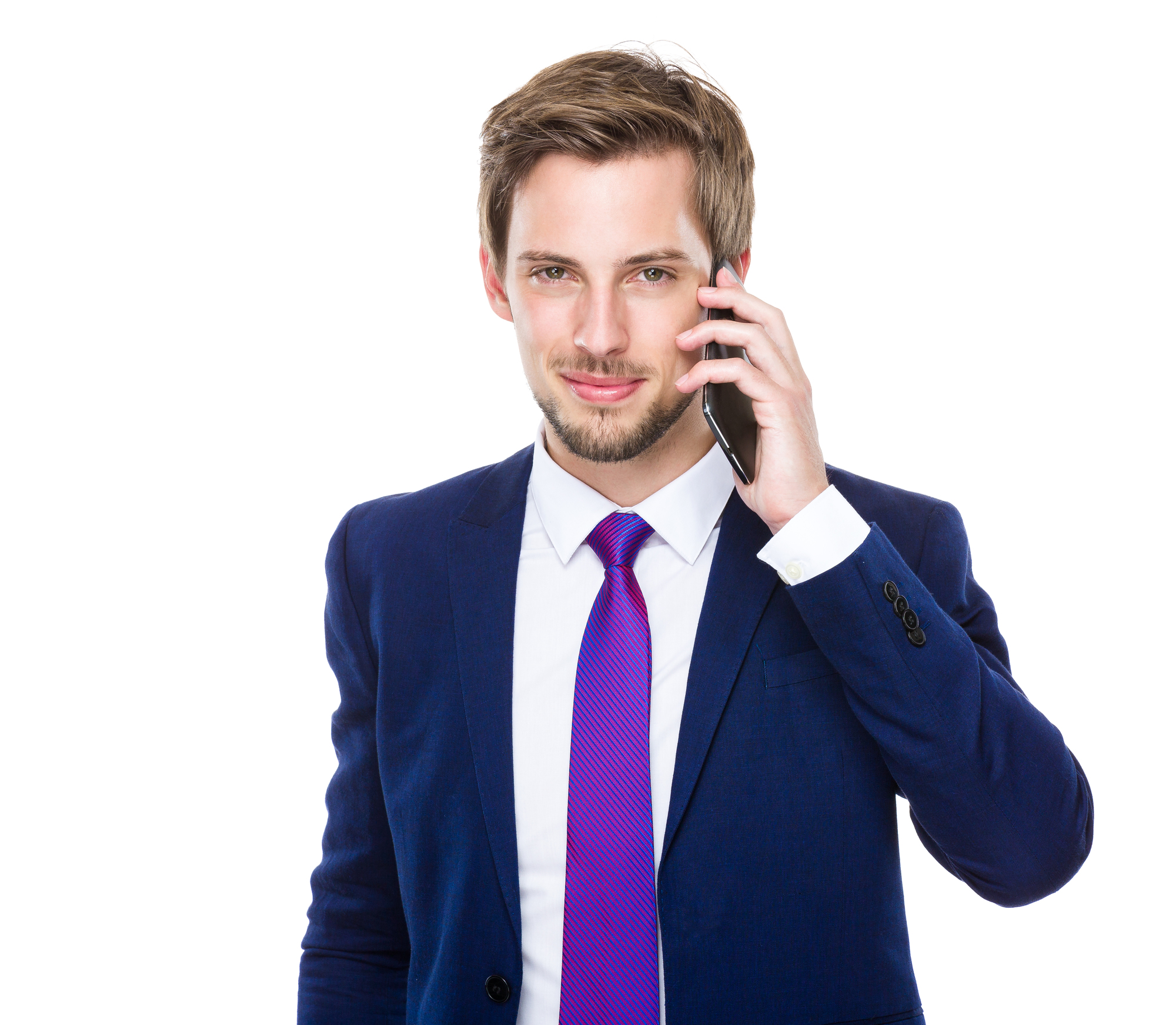 携帯電話をもつ外国人男性